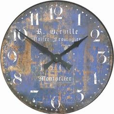 Extra Large French Cheesmakers Clock - The faded blue colour of this dial is what gives this clock its wide appeal. With a barely discernible French name of a cheesmaker from Montpellier, it is an impressively large gallery style clock full of character.