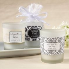 Personalized Frosted Glass Votive Wedding Candle Favors by Beau-coup
