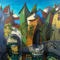 Miguel Freitas ~ The naive memories Arte Popular, Naive Art, Canadian Artists, City Art, City Streets, Whimsical Art, House Painting, Creative Art, Home Art