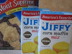 Just one box yellow cake mix, and two boxes jiffy corn muffin mix! I make a smaller batch of this using one Jiffy cornbread mix and 1 jiffy yellow cake mix. Jiffy Cornbread Mix, Sweet Cornbread, Cornbread With Cake Mix Recipe, Homemade Cornbread, Cornbread Casserole, Biscuit Recipe, Corn Muffin Mix, Corn Muffins, Cornbread Muffins