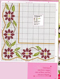 31 Ideas Crochet Edging And Borders Pillowcases Free Pattern For 2019 Cross Stitch Borders, Cross Stitch Flowers, Cross Stitch Charts, Cross Stitch Designs, Cross Stitching, Cross Stitch Embroidery, Cross Stitch Patterns, Seed Bead Flowers, Beading Patterns