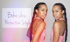 A Boho Chic Protective Style Consisting of Two Simple French Braids  Read the article here - http://www.blackhairinformation.com/general-articles/hairstyles-general-articles/a-boho-chic-protective-style-consisting-of-two-simple-french-braids/