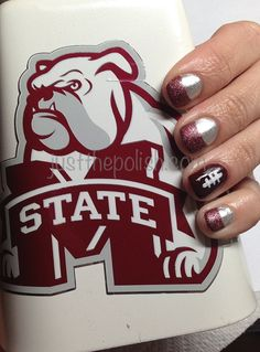 Football nails ....cute but with  Panthers colors for Cadens football team.