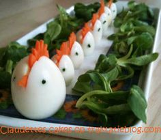 Little chicks - Hard Boiled eggs with a comb and beak of carrot and black sesame seeds as eyes