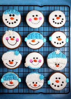 Adorable snowman cupcakes