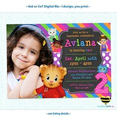 Daniel Tiger Invitation for Girls with Photo, Colorful Pink & Purple, I Design You Print • Style #015