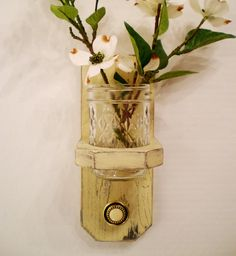 Cottage Styled Wood Wall Hanger with Antique Styled Knob, Shabby Chic / French Country-Creamy Yellow. $20.00, via Etsy.