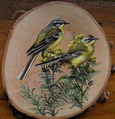 Birds Painting, Wood Slice Art, Art Basics, Wood Art, Bird Art Print, Painting, Wood Painting Art, Sunflower Art, Art