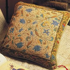 "Illuminated Manuscript Needlepoint Cushion Kit. $68. By Candace Bahouth.    16"" x 15"". 10 holes to the inch.  Ehrman wools."