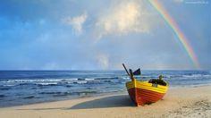 Łódka, Morze, Tęcza
