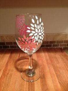 wine glass painting designs girly pink and coral flowers hand painted wine by on wine glass painting ideas for beginners