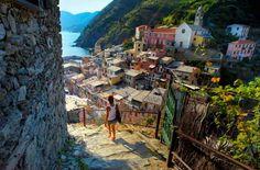 15 most romantic getaways in the world: Cinque Terre, The Italian Riviera Cinque Terre Italia, Voyager Seul, Villefranche Sur Mer, Shore Excursions, Visit Italy, By Train, Romantic Getaways, Travel Alone, World Heritage Sites