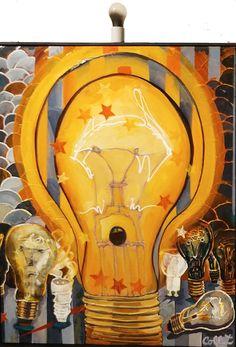 """Acrylic on canvas/Acrylique sur toile - 30"""" X 24"""" + bulb, 76 x 61 cm + ampoule Acrylic Paintings, Death, Bulb, Canvas, Light Bulb, Tela, Canvases, Lightbulbs, Light Globes"""