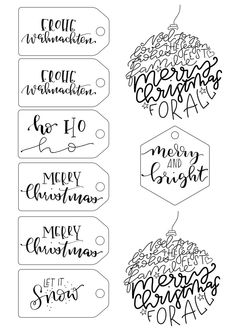 Printable Christmas tag for your Christmas gifts - Judith - noel Christmas Doodles, Christmas Mood, Christmas Crafts, Xmas, Brush Lettering, Hand Lettering, Watercolor Birthday Cards, Christmas Tags Printable, Diy Letters