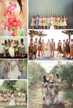 Floral Print Bridesmaid Dresses   COUTUREcolorado WEDDING: colorado wedding blog - http://www.couturecolorado.com/wedding/2014/08/16/spotted-floral-print-bridesmaid-dresses/