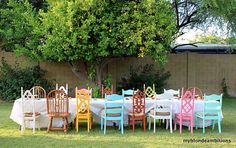 Love the colorful mismatched chairs. Perfect for a summer backyard party. Mismatched Chairs, Old Chairs, Vintage Chairs, Outdoor Dining, Outdoor Decor, Outdoor Curtains, Colorful Chairs, Eclectic Chairs, Funky Chairs