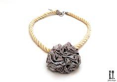 Cord Collar Necklace. Gold Cord Choker. Gray Silver Choker. Jacquard/Cord. Fabric Choker. Handmade Collar Necklace. Handmade Fabric Jewerly. by EmTraCreations on Etsy