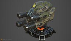 AI Rocket launcher turret, Anton Gonzalez on ArtStation at https://www.artstation.com/artwork/R5A6E
