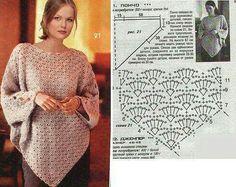 horgolt poncsó / crochet lace poncho and cape Blouse Au Crochet, Shawl Crochet, Crochet Poncho With Sleeves, Crochet Poncho Patterns, Crochet Diagram, Crochet Scarves, Crochet Clothes, Crochet Lace, Knitting Patterns