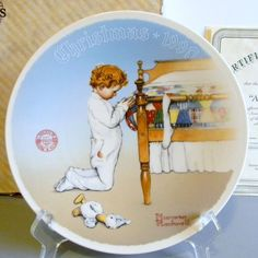 Knowles Norman Rockwell A CHRISTMAS PRAYER 1990 Plate w/COA & Box #6913A~Mint! #Knowles #NormanRockwell #ChristmasPrayer #CollectiblePlate