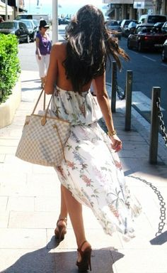 buy cheap  flowery strapless dress, and LV bag