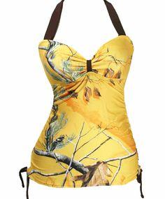 2013 Realtree Yellow Camo Halter Tankini Swimsuits $49.99 I love the yellow
