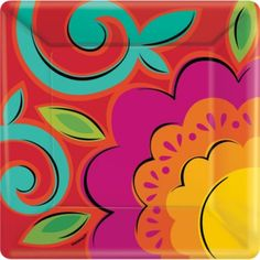 Fiesta Caliente Lunch Plates - Party City LOVE these colors!!!!