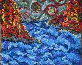 Autumn Waters  Georgian Bay  Hand Hooked Rug Hooking Wall Hanging by Vanessa Turnbull, waves, fall colours, wind, rough waters