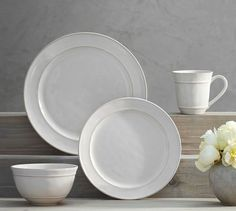 Cambria 16-Piece Dinnerware Set - Stone | Pottery Barn #FairfieldGrantsWishes