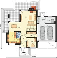 DOM.PL™ - Projekt domu ARP EMILIAN CE - DOM AP2-13 - gotowy koszt budowy Modern Small House Design, Modern House Plans, Classic House Exterior, Floor Plans, 1, How To Plan, Building, Home, Moldings