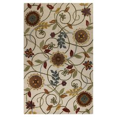 Lend a touch of whimsical appeal to your living room or master suite with this hand-tufted wool rug, showcasing a scrolling floral motif on an ivory backgrou...