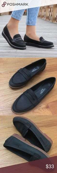 Calvin Klein sport Loafers These cute sport loafers can be worn with everything. In the light they look dark green and in the dark they look black. In good condition. Calvin Klein Shoes Flats & Loafers