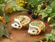 Royal Crown Derby Holly and Ivy Hedgehogs