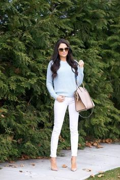 Fall outfit idea: Pastel blue sweater // Pink Peonies