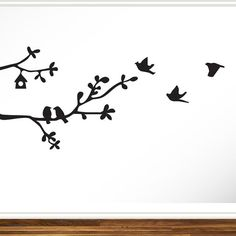 Branches with Birds Whimsical Modern Contemporary Vinyl Decal Wall Art Black Home Decor Entryway Hanging