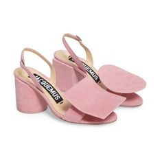 b534905167dc Women s Jacquemus Les Rond Carre Suede Sandal ( 327) ❤ liked on Polyvore  featuring shoes. Pink Block Heel ...