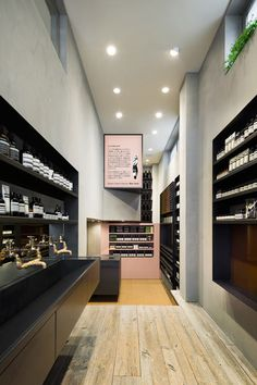 Aesop store on Meiji Street in Shibuya, Tokyo. Designed by Torafu Architects.  The space is long and slender - 2600mm in width, 7800mm in depth and 3900mm in height.