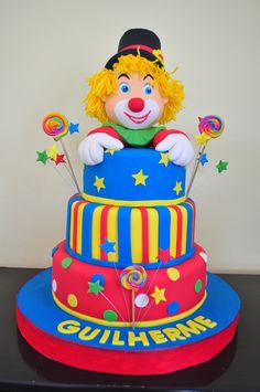 Carnival Cakes, Circus Cakes, Carnival Themed Party, Clown Cake, Pastry Design, Jungle Cake, 1st Birthday Cakes, Colorful Cakes, Creative Cakes