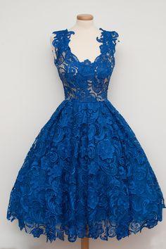 Elegant Blue Lace V Neck A Line Sleeveless Short Evening Dresses