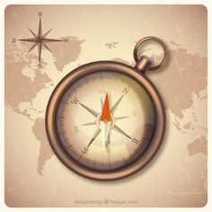 Vintage world map background with compas. Map Background, Background Vintage, Vintage World Maps, Vintage Travel, Vector Photo, Vector Free, Freepik, Clock, Compass