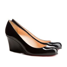 @Louboutin, the black #patent leather #wedges he created have the look that will last 1000 years