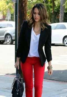 Jessica Albla shows that one can absolutely wear bright red pants, whether the style skinny or flare. A deep dark Marine suit jacket works well, you could even try golden buttons