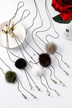 Generic trendy hair ball_mink_velvet_long,_ necklace pendant s,_Japan_and ROK_wild_ girl,_water_droplets_ sweater chain _Korean_Crystal_ jewelry pendant necklace s *** You can get additional details at the image link. #hairandmakeup
