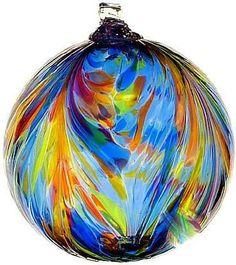 "Kitras Art Blown Glass 6"" Feather Ball Ornament - Sunny Sky Multi Colors"