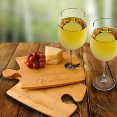 Personalized Perfect Fit Puzzle Cheese Tray Cutting Board Set/2 with Two Wine Glasses - SkyMall