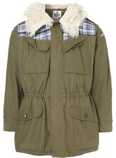 Olive Military Jacket with Plaid Detail and Fur Collar