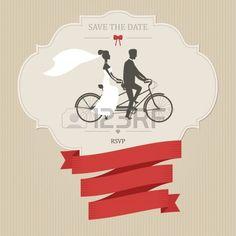 http://us.123rf.com/450wm/ivanbaranov/ivanbaranov1301/ivanbaranov130100017/17205975-convite-de-casamento-do-vintage-com-tandem-bicicleta-e-l...