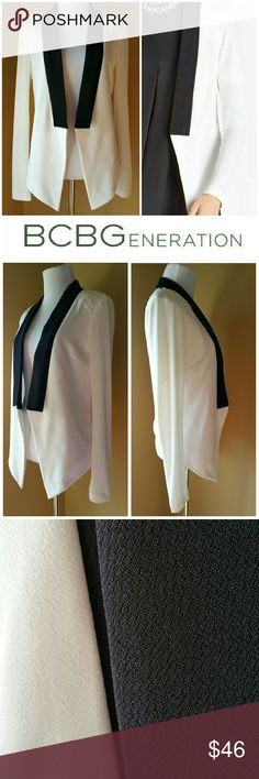 ♡SALE♡ BCBGeneration Tuxedo Style Jacket Sassy tuxedo style jacket. Love this menswear-inspired piece. Whisper white with black contrast color. Open front. Long sleeves. Pointed hemline. The back length hits at your waist and the front length drops slightly below your waist.   Material: Polyester, Spandex  Condition: New with tags. Never worn. No stains, tears, rips, snags or irregularities. BCBGeneration Jackets & Coats