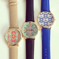 Aztec print watches