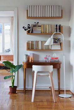 bookshelf above desk, storage idea